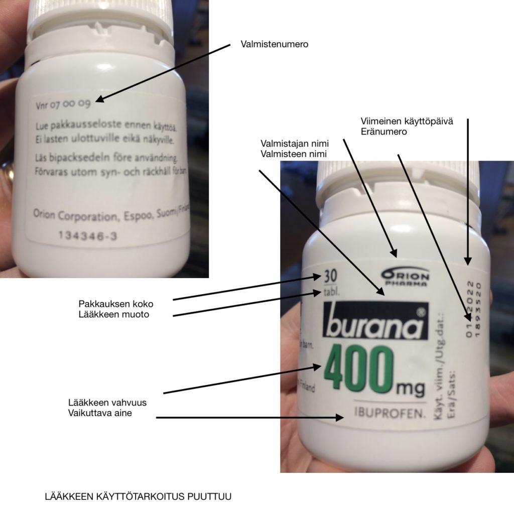 kuva lääkepakkauksessa ja siihen liitettynä pakkauksesta etsityt tiedot lääkkeestä.